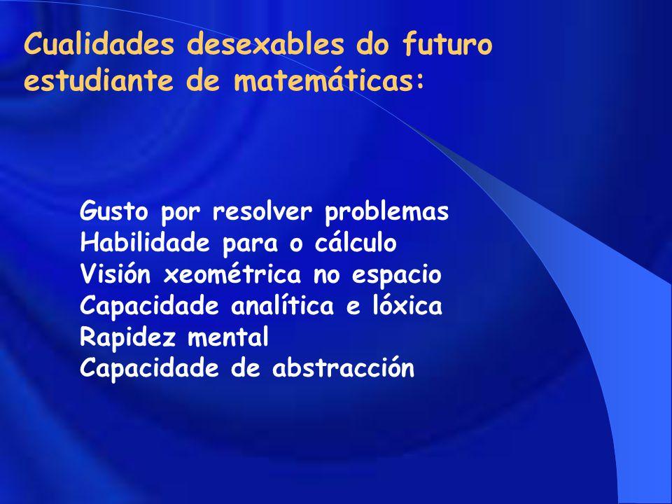Cualidades desexables do futuro estudiante de matemáticas: Gusto por resolver problemas Habilidade para o cálculo Visión xeométrica no espacio Capacidade analítica e lóxica Rapidez mental Capacidade de abstracción