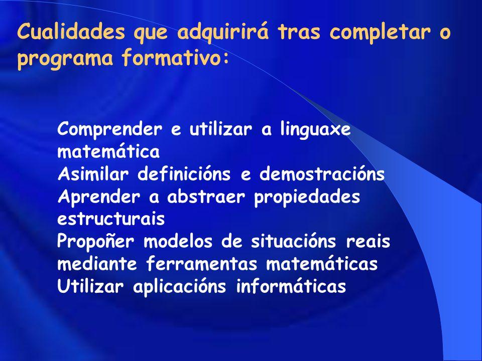 Cualidades que adquirirá tras completar o programa formativo: Comprender e utilizar a linguaxe matemática Asimilar definicións e demostracións Aprender a abstraer propiedades estructurais Propoñer modelos de situacións reais mediante ferramentas matemáticas Utilizar aplicacións informáticas