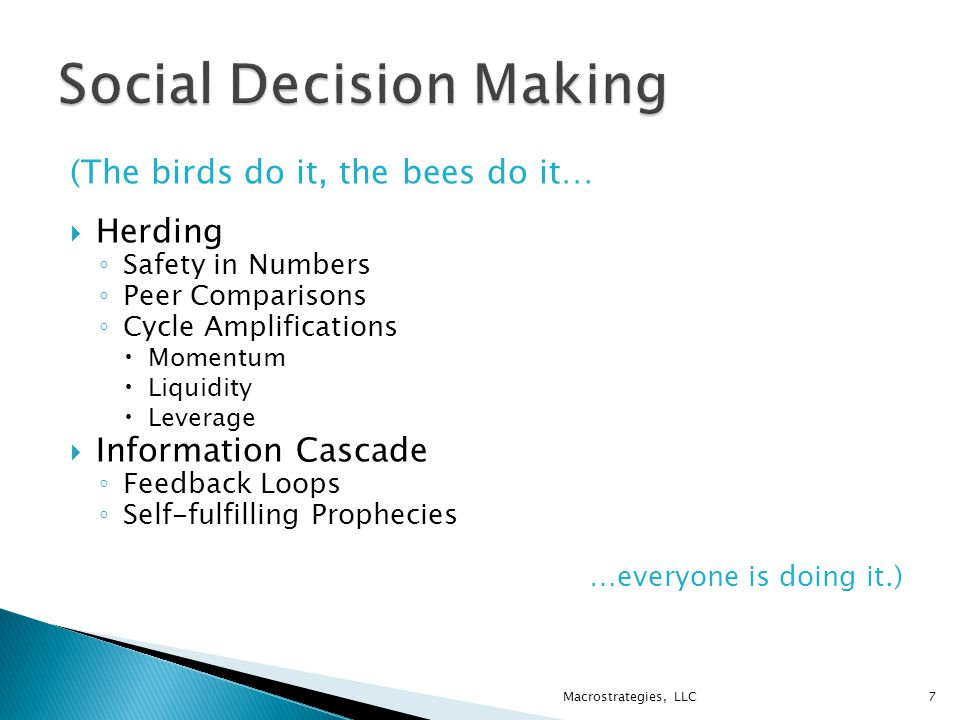 (The birds do it, the bees do it…  Herding ◦ Safety in Numbers ◦ Peer Comparisons ◦ Cycle Amplifications  Momentum  Liquidity  Leverage  Information Cascade ◦ Feedback Loops ◦ Self-fulfilling Prophecies …everyone is doing it.) Macrostrategies, LLC7