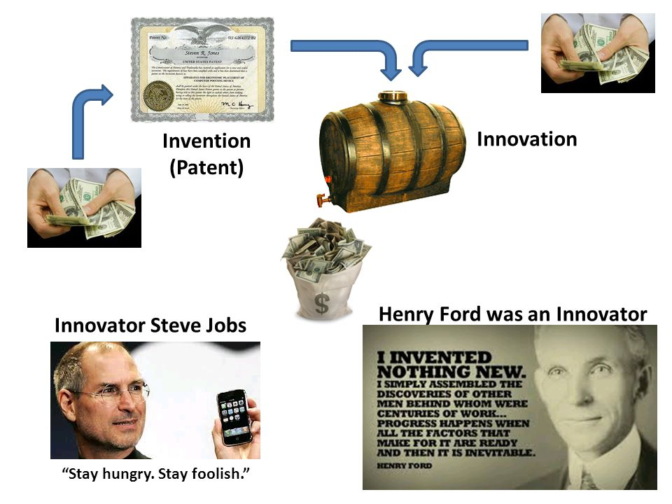 Invention (Patent) Innovation Henry Ford was an Innovator Stay hungry.