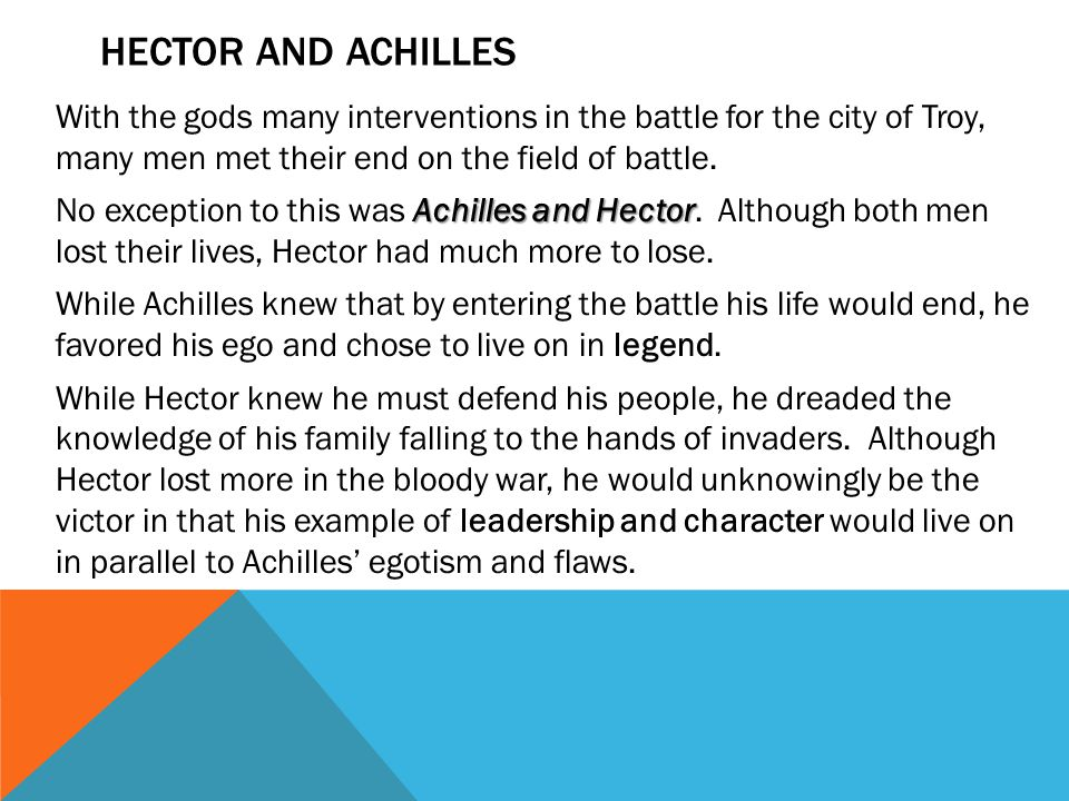 HECTOR AND ACHILLES With the gods many interventions in the battle for the city of Troy, many men met their end on the field of battle.