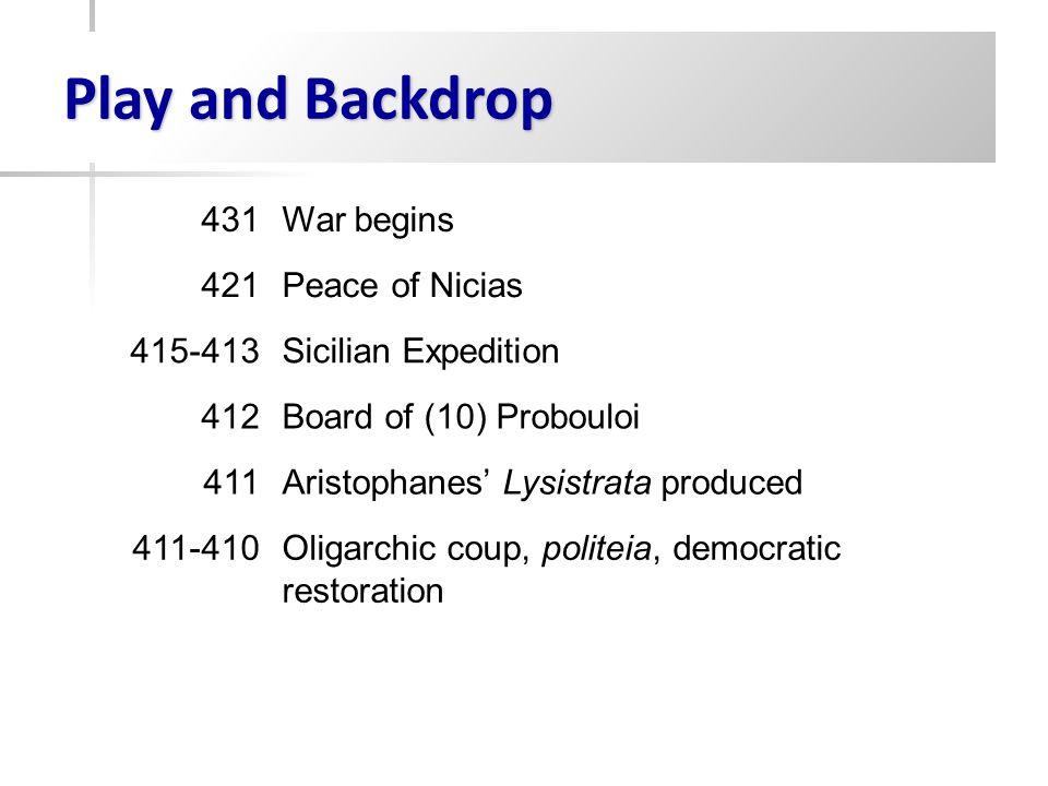 Play and Backdrop 431War begins 421Peace of Nicias 415-413Sicilian Expedition 412Board of (10) Probouloi 411Aristophanes' Lysistrata produced 411-410Oligarchic coup, politeia, democratic restoration