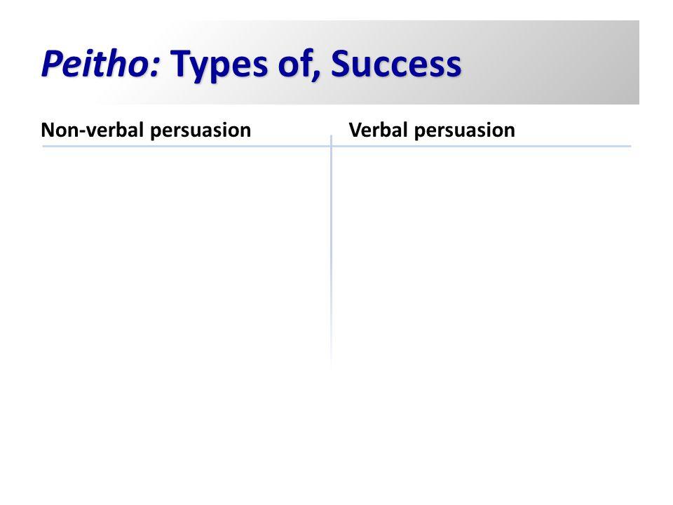 Peitho: Types of, Success Non-verbal persuasion Verbal persuasion