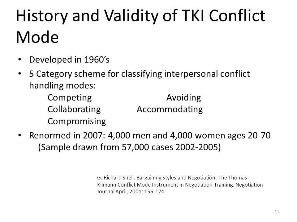 History and Validity of TKI Conflict Mode Developed in 1960's 5 Category scheme for classifying interpersonal conflict handling modes: CompetingAvoidi