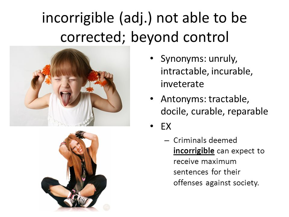incorrigible (adj.) not able to be corrected; beyond control Synonyms: unruly, intractable, incurable, inveterate Antonyms: tractable, docile, curable, reparable EX – Criminals deemed incorrigible can expect to receive maximum sentences for their offenses against society.