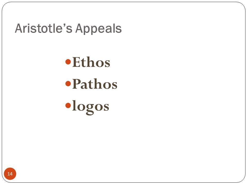 Aristotle's Appeals 14 Ethos Pathos logos