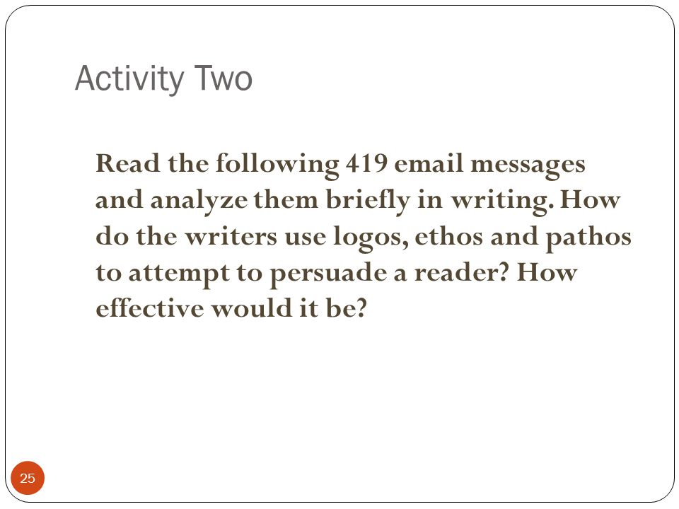 Activity Two 25 Read the following 419 email messages and analyze them briefly in writing.