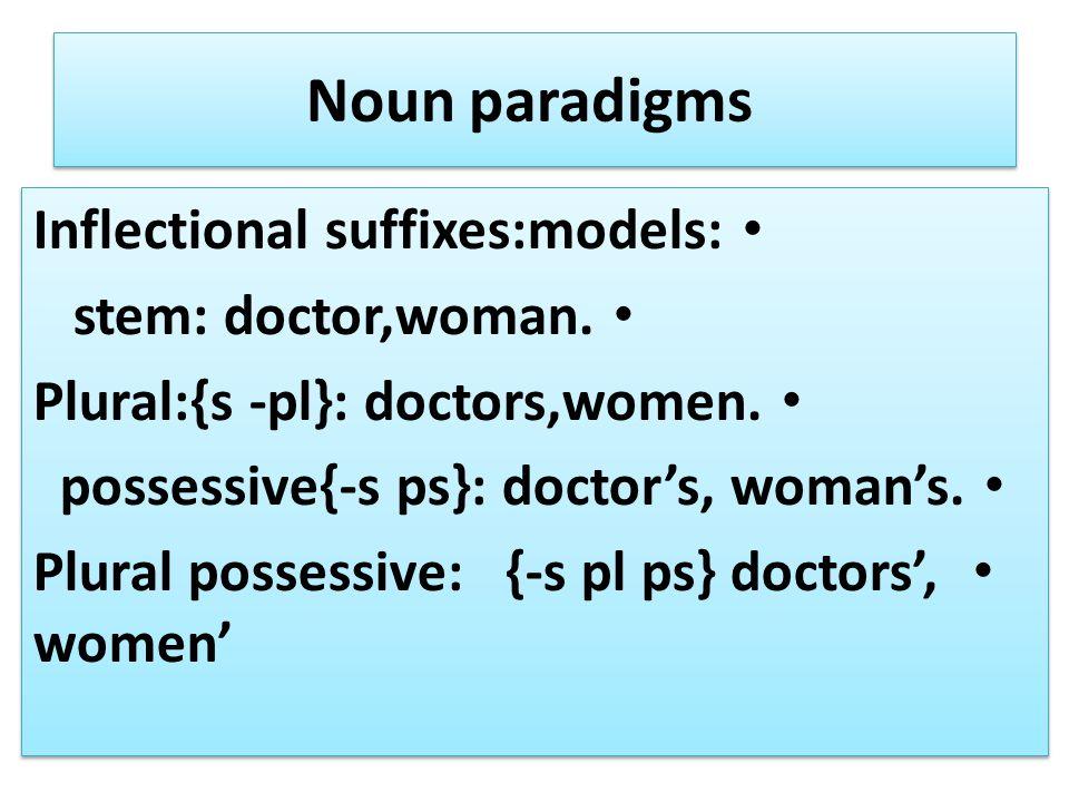 Noun paradigms Inflectional suffixes:models: stem: doctor,woman. Plural:{s -pl}: doctors,women. possessive{-s ps}: doctor's, woman's. Plural possessiv
