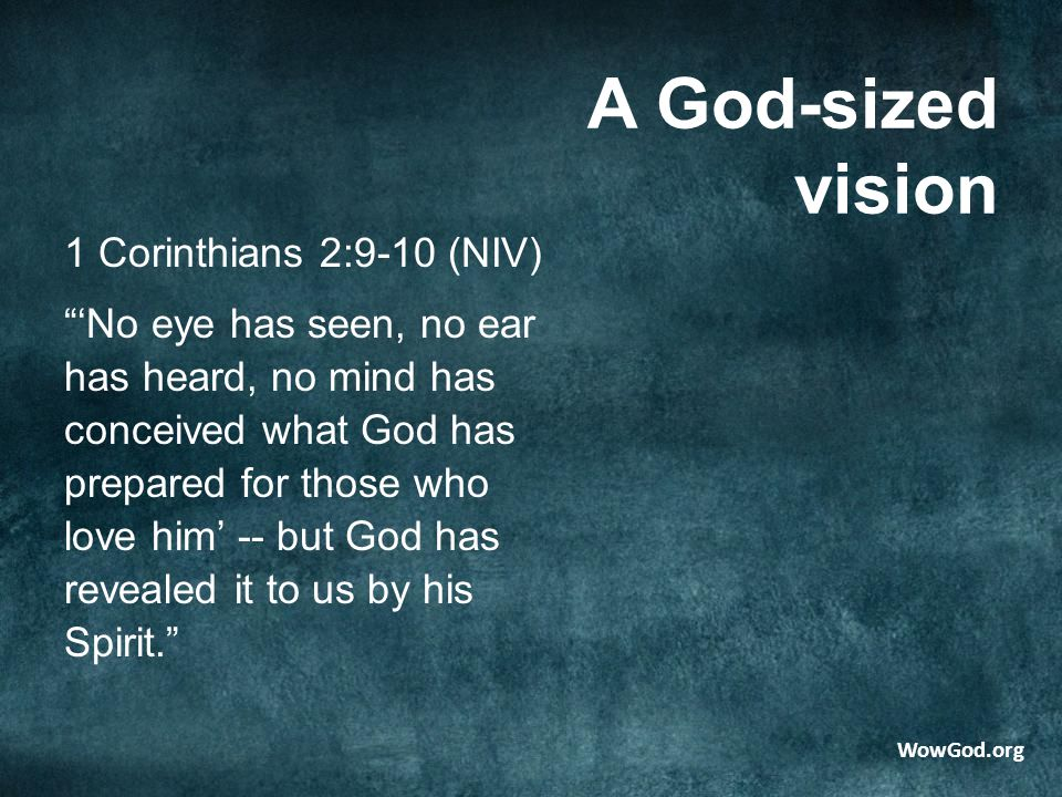 A God-sized vision 1 Corinthians 2:9-10 (NIV) 'No eye has seen, no ear has heard, no mind has conceived what God has prepared for those who love him' -- but God has revealed it to us by his Spirit. WowGod.org