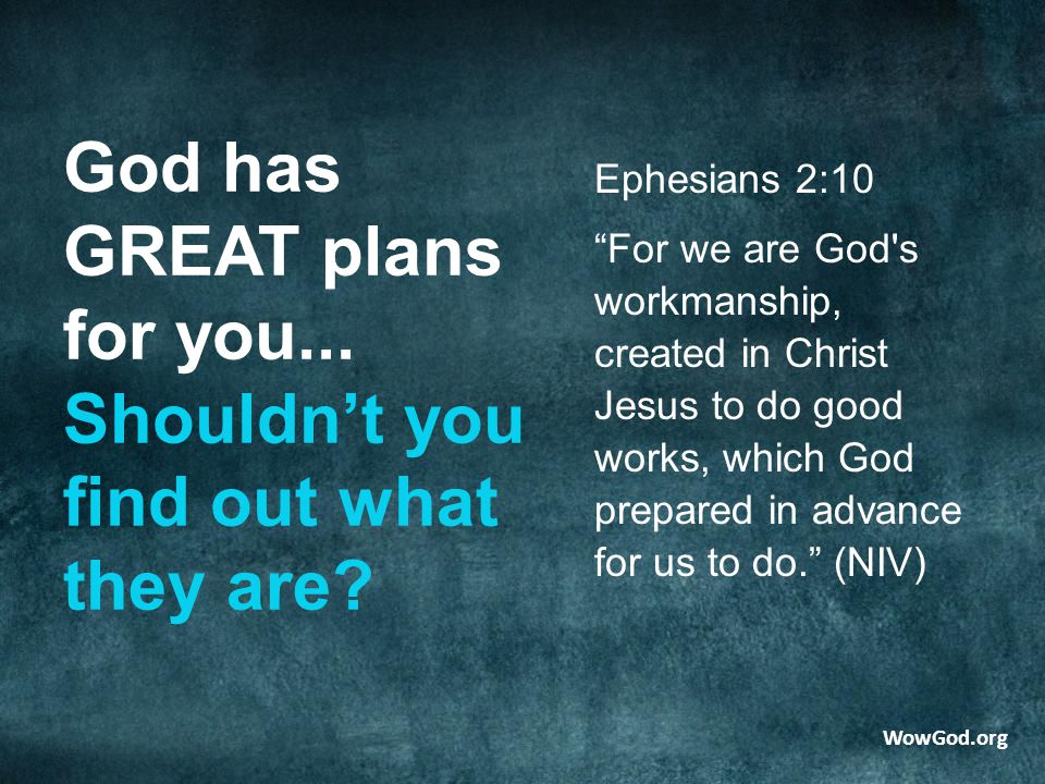 God has GREAT plans for you... Shouldn't you find out what they are.