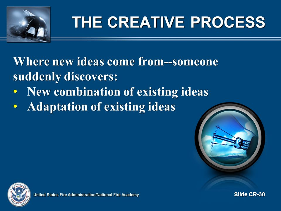 THE CREATIVE PROCESS Where new ideas come from--someone suddenly discovers: New combination of existing ideas New combination of existing ideas Adaptation of existing ideas Adaptation of existing ideas Slide CR-30