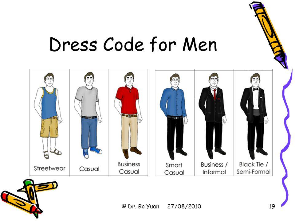 Dress Code for Men © Dr. Bo Yuan 27/08/201019