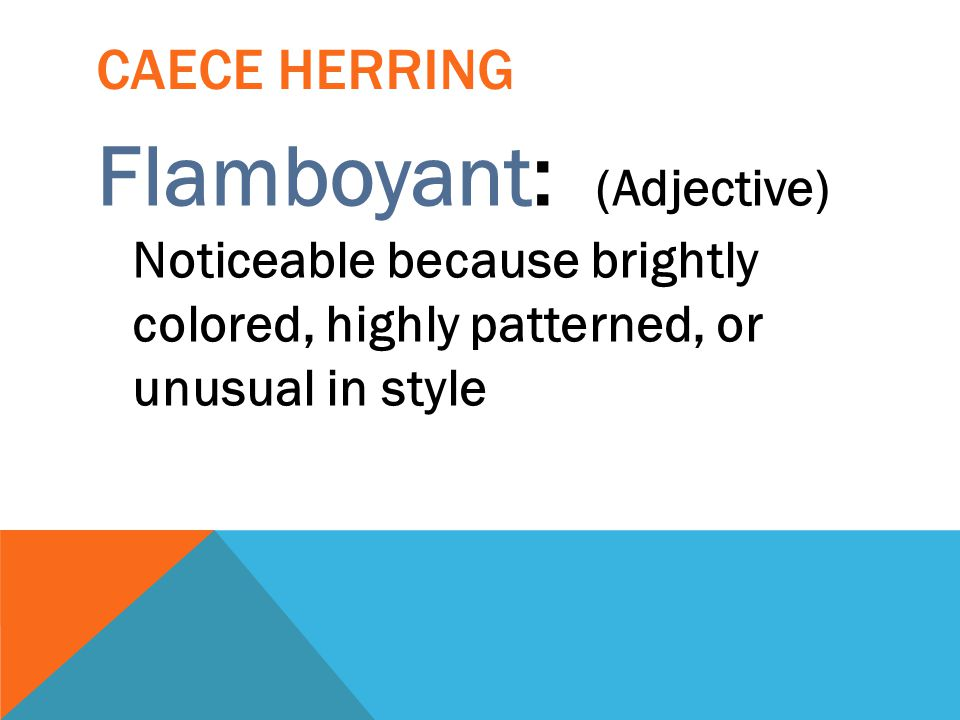 CAECE HERRING Flamboyant: (Adjective) Noticeable because brightly colored, highly patterned, or unusual in style