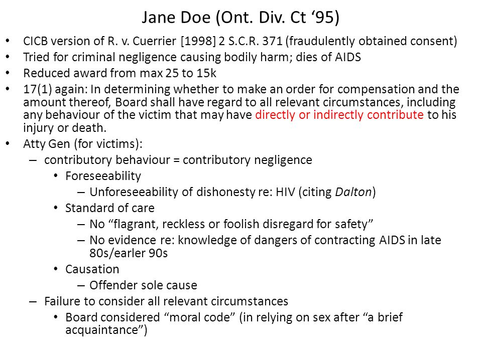Jane Doe (Ont. Div. Ct '95) CICB version of R. v.