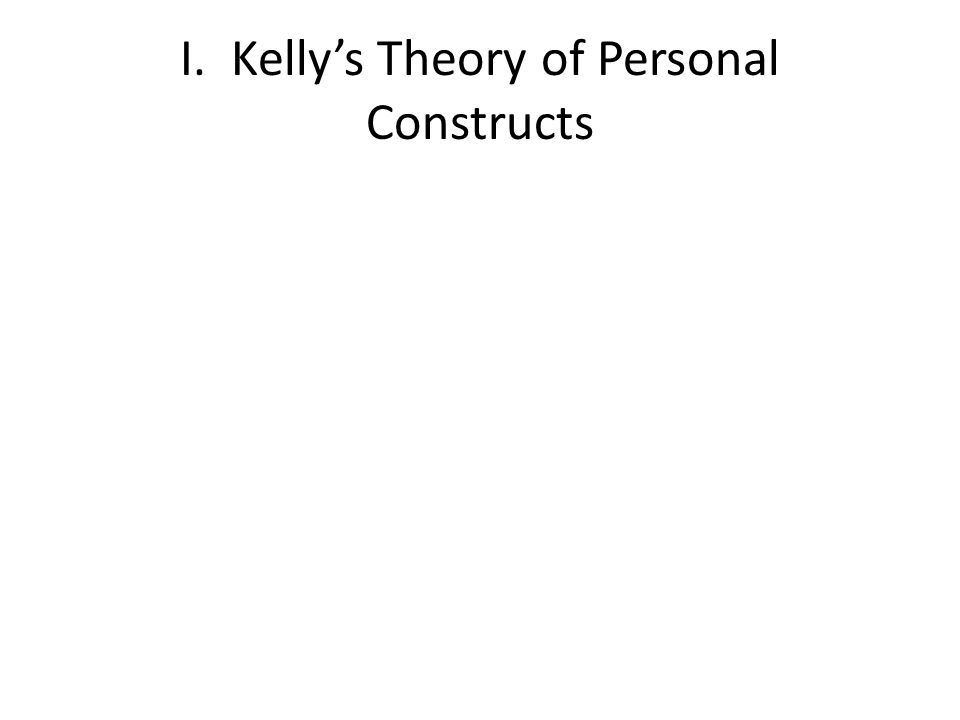 I. Kelly's Theory of Personal Constructs