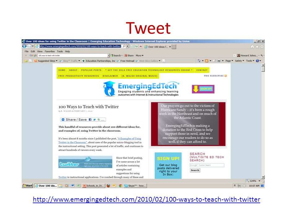 Tweet http://www.emergingedtech.com/2010/02/100-ways-to-teach-with-twitter