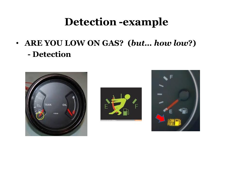 Detection -example ARE YOU LOW ON GAS (but… how low ) - Detection