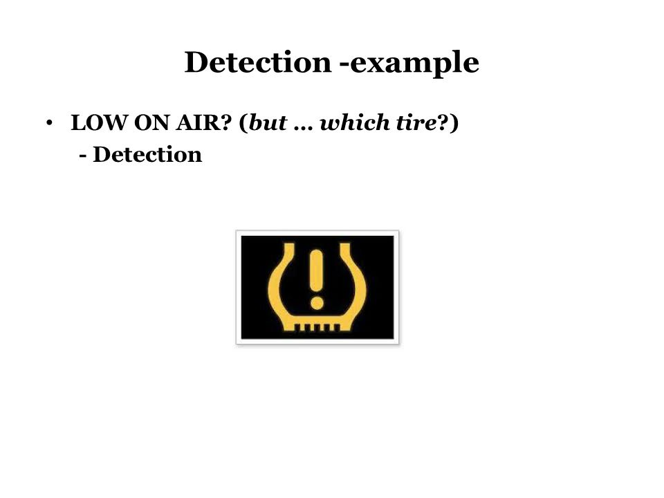 Detection -example LOW ON AIR? (but … which tire?) - Detection