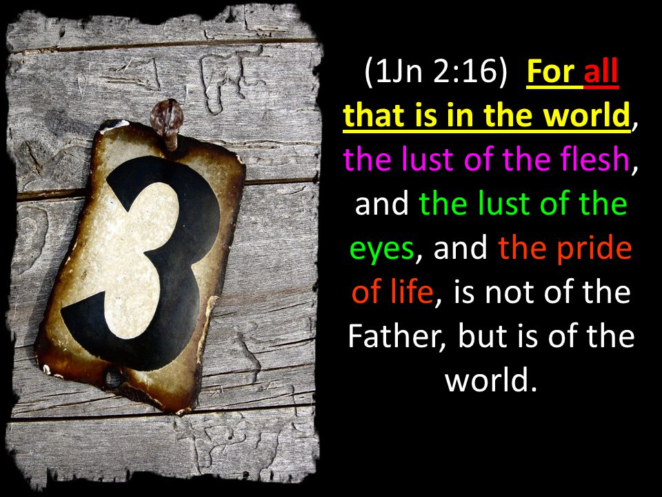 (1Jn 2:16) For all that is in the world, the lust of the flesh, and the lust of the eyes, and the pride of life, is not of the Father, but is of the world.