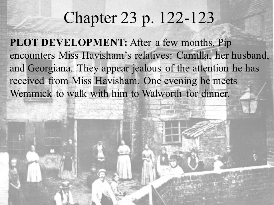 Chapter 23 p. 122-123 PLOT DEVELOPMENT: After a few months, Pip encounters Miss Havisham's relatives: Camilla, her husband, and Georgiana. They appear