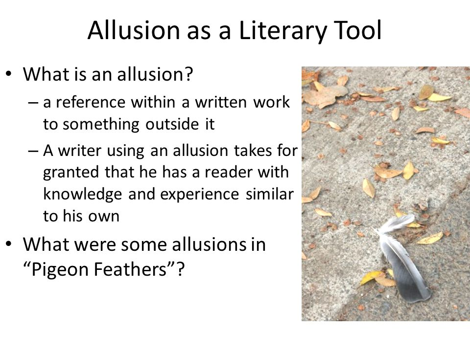 Allusion as a Literary Tool What is an allusion.