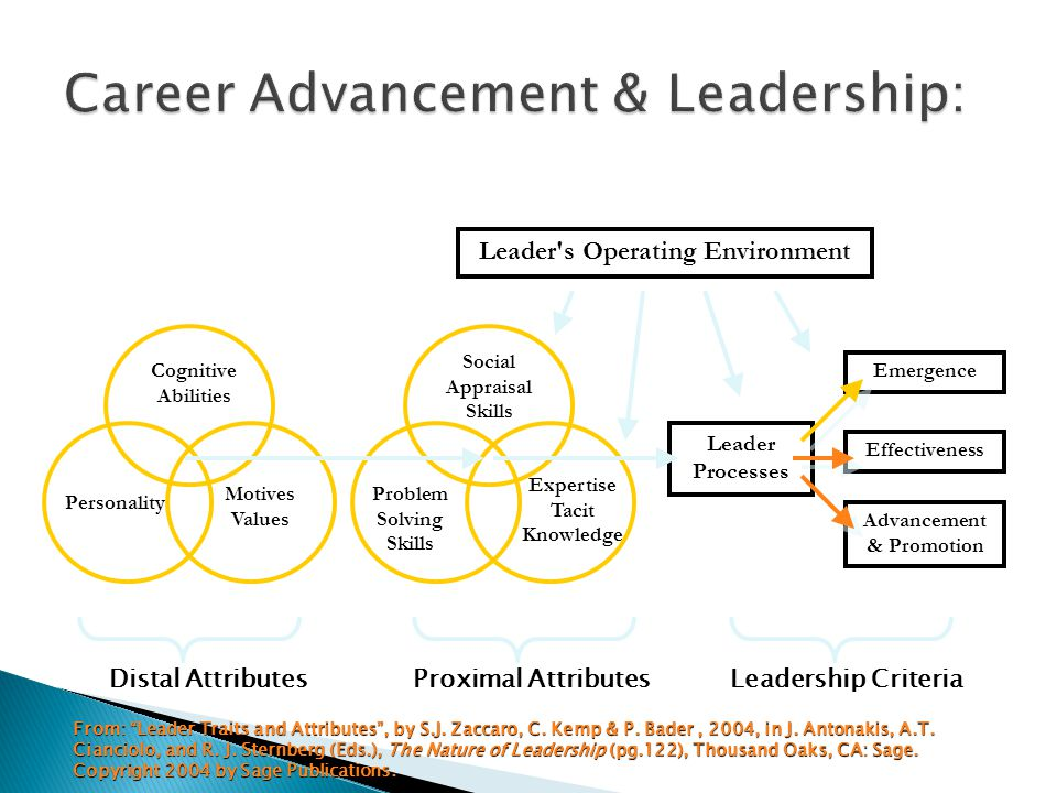 Distal AttributesProximal AttributesLeadership Criteria Cognitive Abilities Personality Motives Values Problem Solving Skills Social Appraisal Skills Expertise Tacit Knowledge Leader s Operating Environment Leader Processes Advancement & Promotion Effectiveness Emergence From: Leader Traits and Attributes , by S.J.