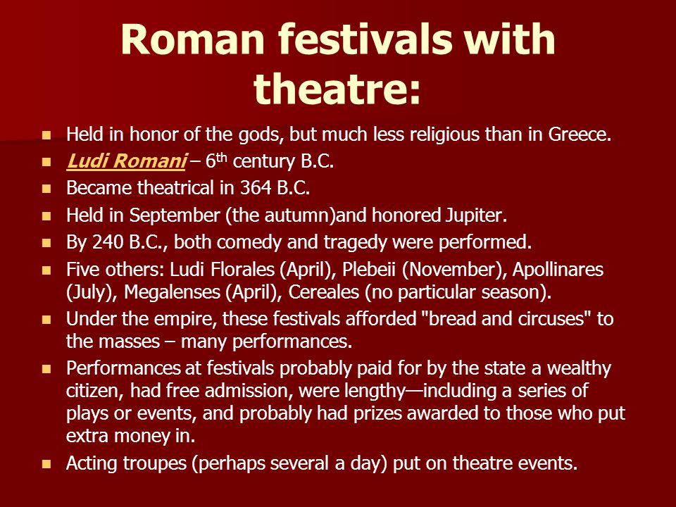 FORMS OF ROMAN THEATRE: