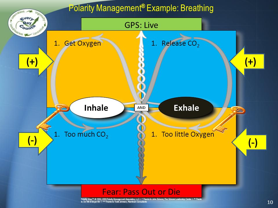 * and Polarity Map™ © 1992, 2008 Polarity Management Associates, LLC / * Thanks to John Scherer, The Scherer Leadership Center / ** Thanks to De Wit & Meyer BV / *** Thanks to Todd Johnson, Rivertown Consultants Polarity Management ® Example: Breathing GPS: Live Fear: Pass Out or Die InhaleExhale 1.Get Oxygen 1.Too much CO 2 1.Release CO 2 1.Too little Oxygen 10 AND