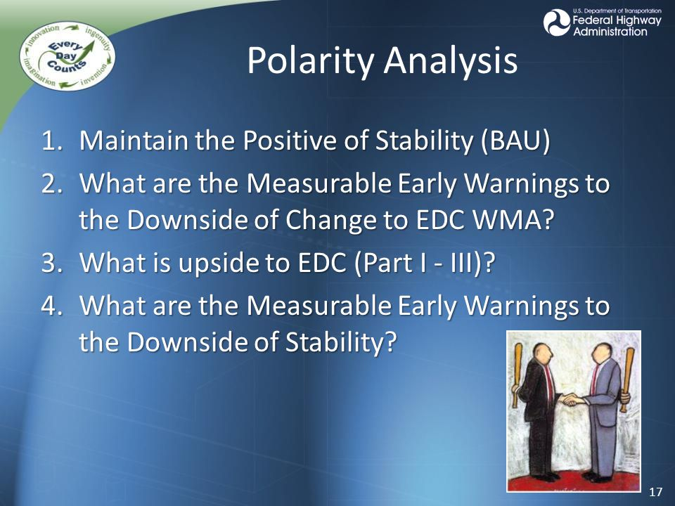 Polarity Analysis 1.Maintain the Positive of Stability (BAU) 2.What are the Measurable Early Warnings to the Downside of Change to EDC WMA.