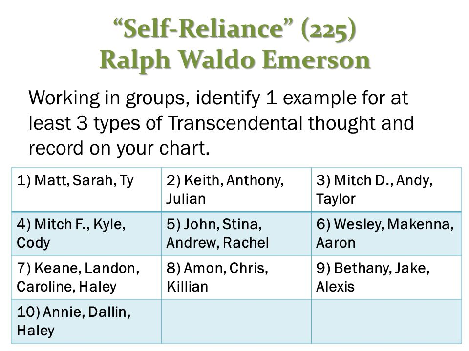 Working in groups, identify 1 example for at least 3 types of Transcendental thought and record on your chart.