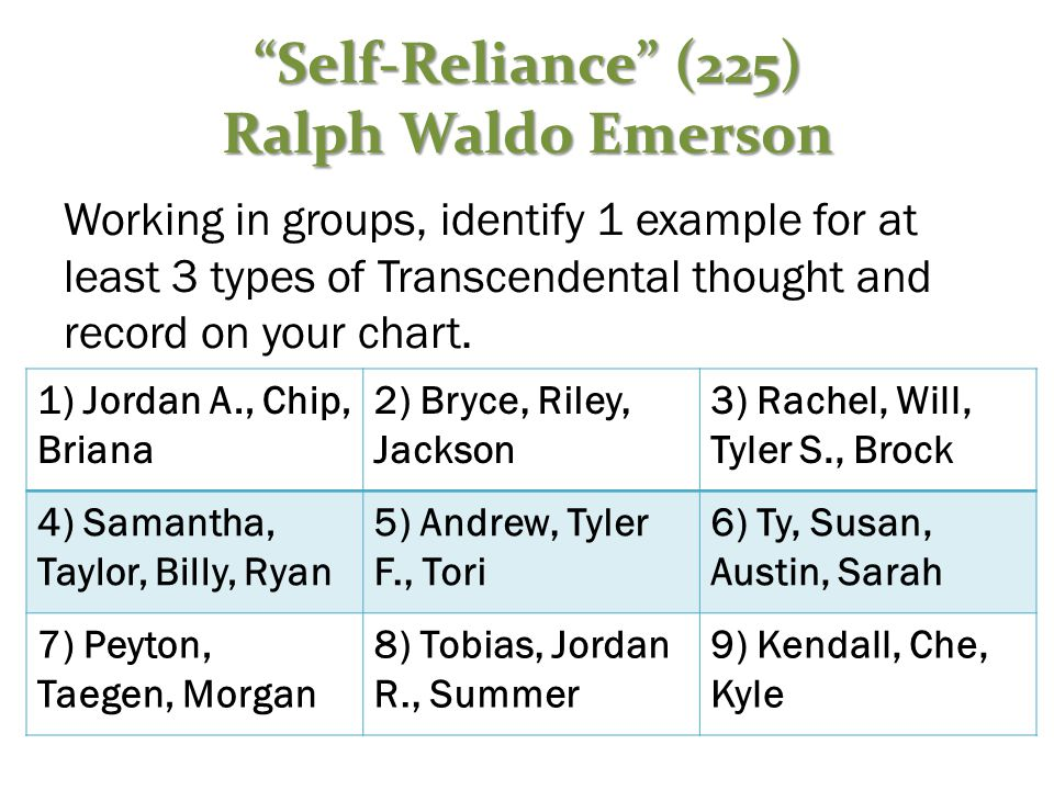 """""""Self-Reliance"""" (225) Ralph Waldo Emerson Working in groups, identify 1 example for at least 3 types of Transcendental thought and record on your char"""