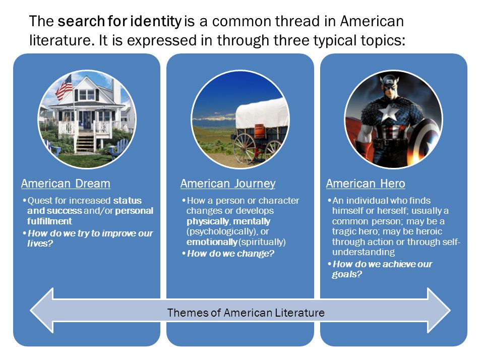The search for identity is a common thread in American literature. It is expressed in through three typical topics: American Dream Quest for increased