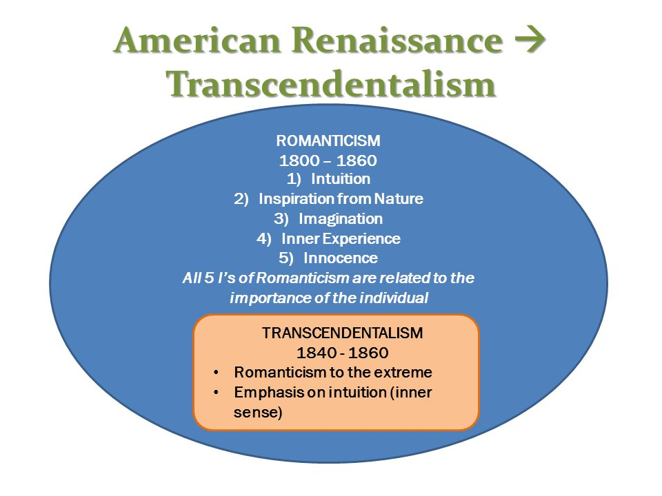 American Renaissance  Transcendentalism ROMANTICISM 1800 – 1860 1)Intuition 2)Inspiration from Nature 3)Imagination 4)Inner Experience 5)Innocence All 5 I's of Romanticism are related to the importance of the individual TRANSCENDENTALISM 1840 - 1860 Romanticism to the extreme Emphasis on intuition (inner sense)