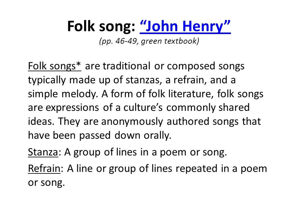 Folk song: John Henry (pp.