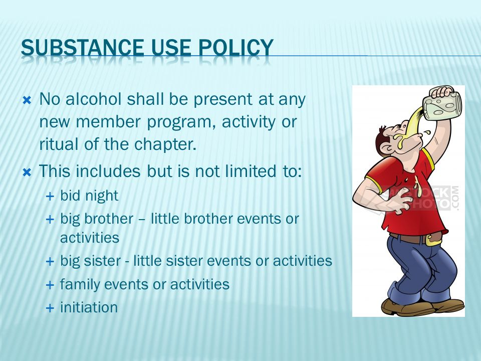  No alcohol shall be present at any new member program, activity or ritual of the chapter.
