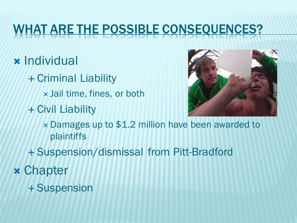  Individual  Criminal Liability  Jail time, fines, or both  Civil Liability  Damages up to $1.2 million have been awarded to plaintiffs  Suspension/dismissal from Pitt-Bradford  Chapter  Suspension