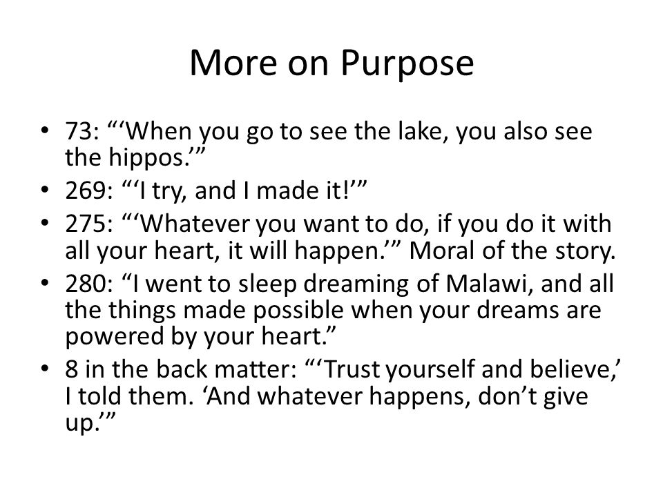 More on Purpose 73: 'When you go to see the lake, you also see the hippos.' 269: 'I try, and I made it!' 275: 'Whatever you want to do, if you do it with all your heart, it will happen.' Moral of the story.
