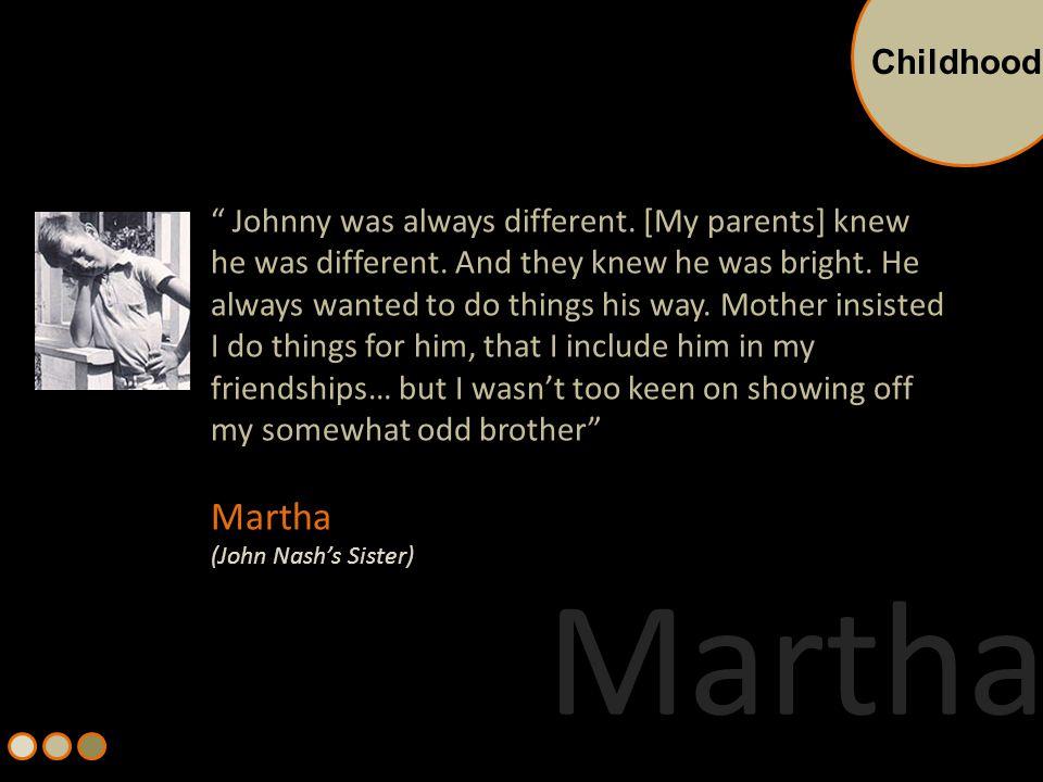 Born on June 13, 1928 in West Virginia, USA Parents – Margaret Virginia Martin and John Nash Sr.