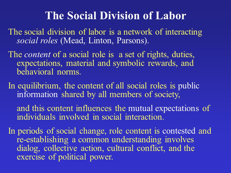 The Social Division of Labor The social division of labor is a network of interacting social roles (Mead, Linton, Parsons).
