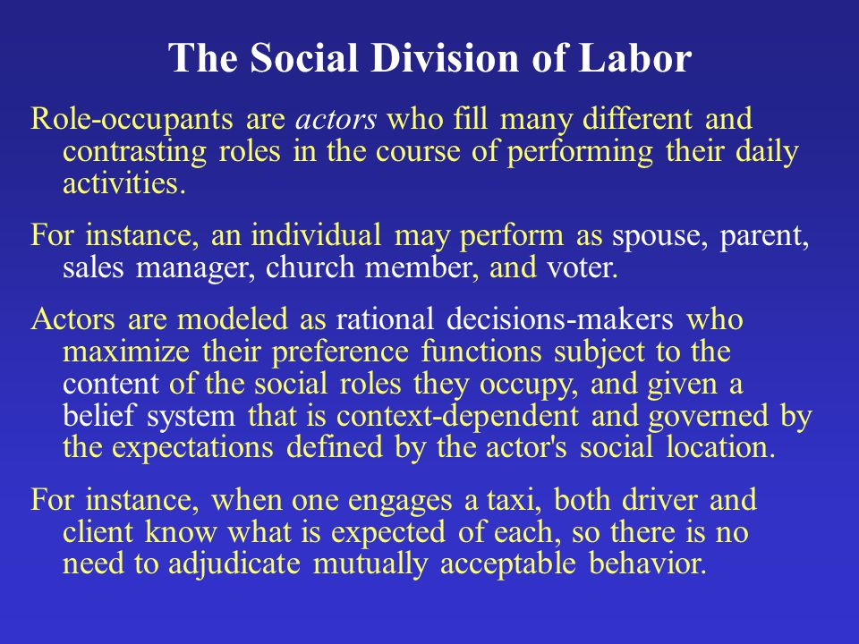 The Social Division of Labor Role-occupants are actors who fill many different and contrasting roles in the course of performing their daily activities.