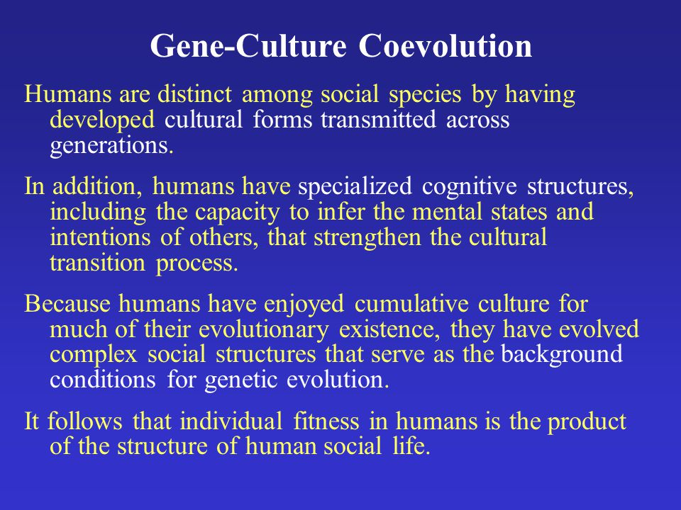 Gene-Culture Coevolution Humans are distinct among social species by having developed cultural forms transmitted across generations.