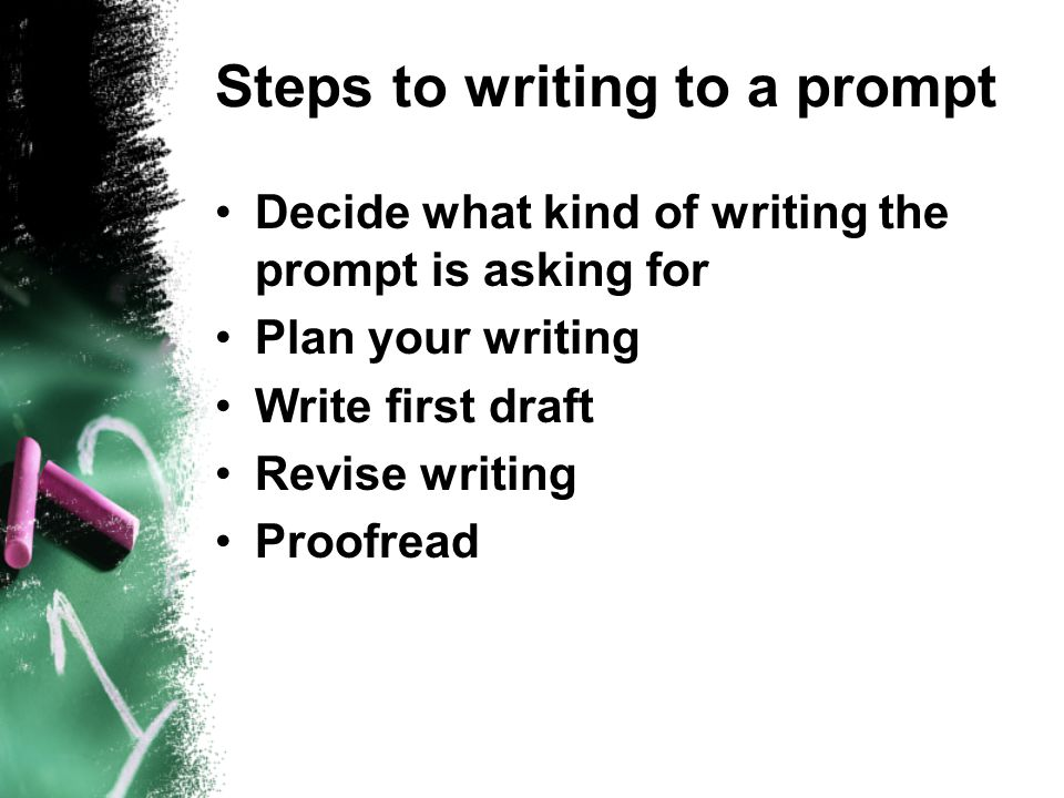 Steps to writing to a prompt Decide what kind of writing the prompt is asking for Plan your writing Write first draft Revise writing Proofread