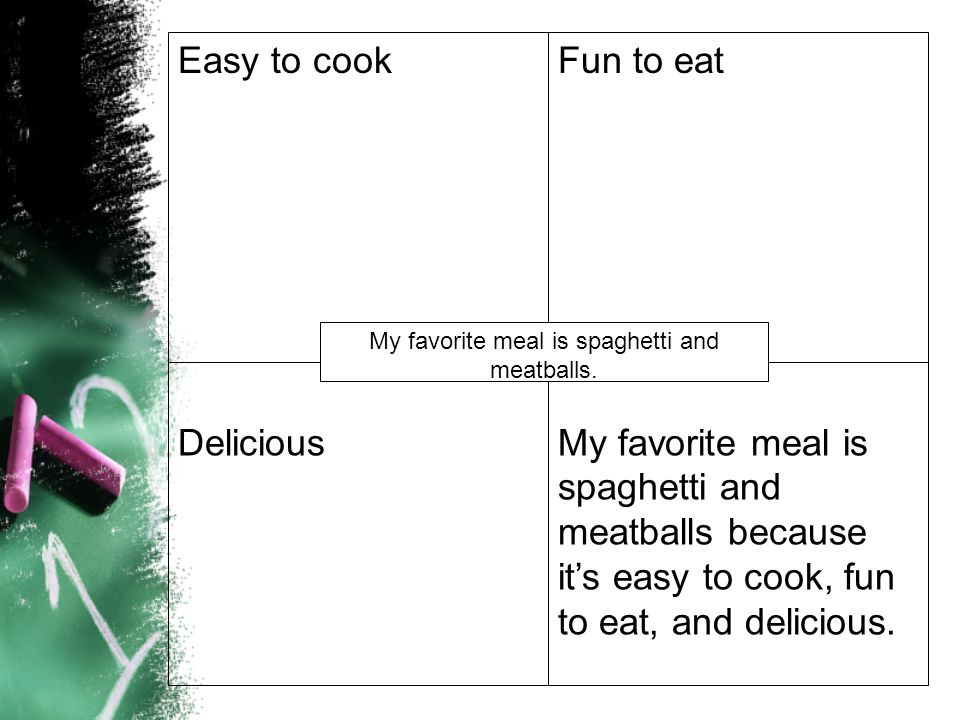Easy to cookFun to eat DeliciousMy favorite meal is spaghetti and meatballs because it's easy to cook, fun to eat, and delicious. My favorite meal is