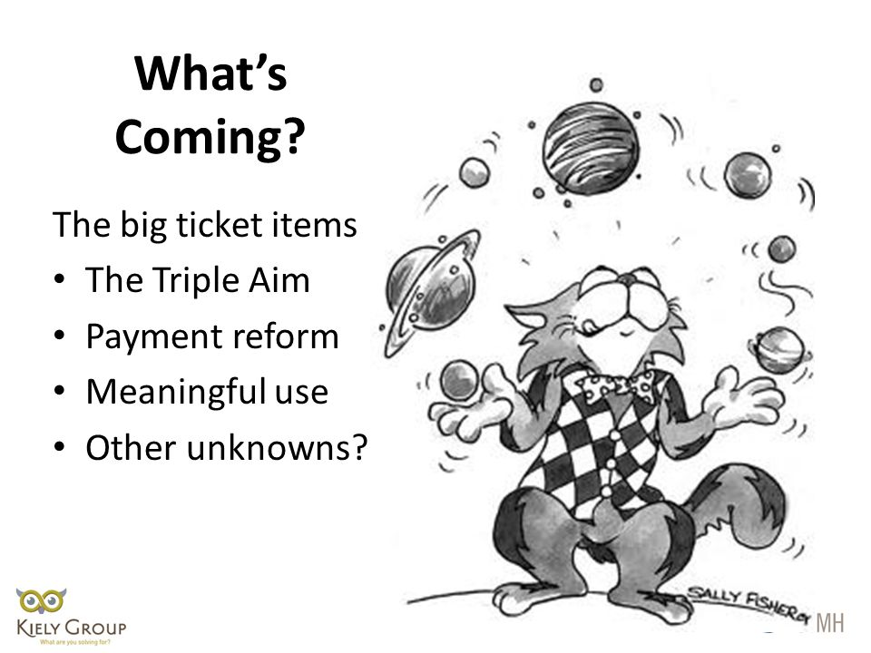 What's Coming The big ticket items The Triple Aim Payment reform Meaningful use Other unknowns