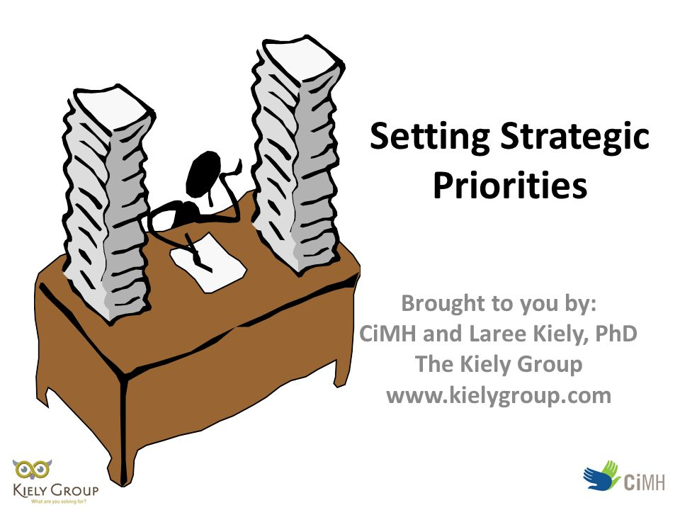 Setting Strategic Priorities Brought to you by: CiMH and Laree Kiely, PhD The Kiely Group www.kielygroup.com