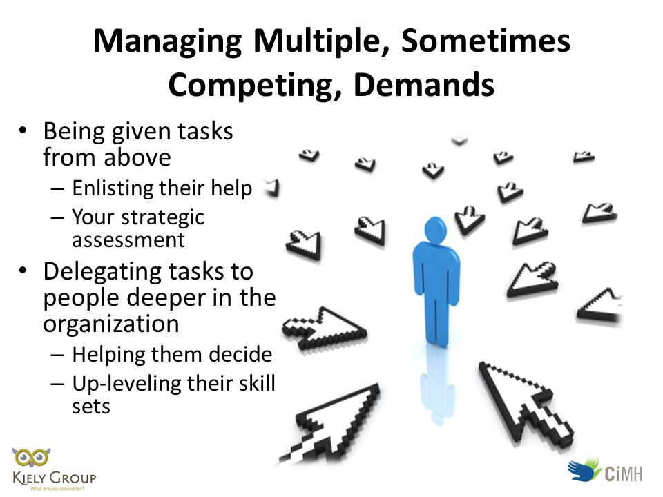 Managing Multiple, Sometimes Competing, Demands Being given tasks from above – Enlisting their help – Your strategic assessment Delegating tasks to people deeper in the organization – Helping them decide – Up-leveling their skill sets