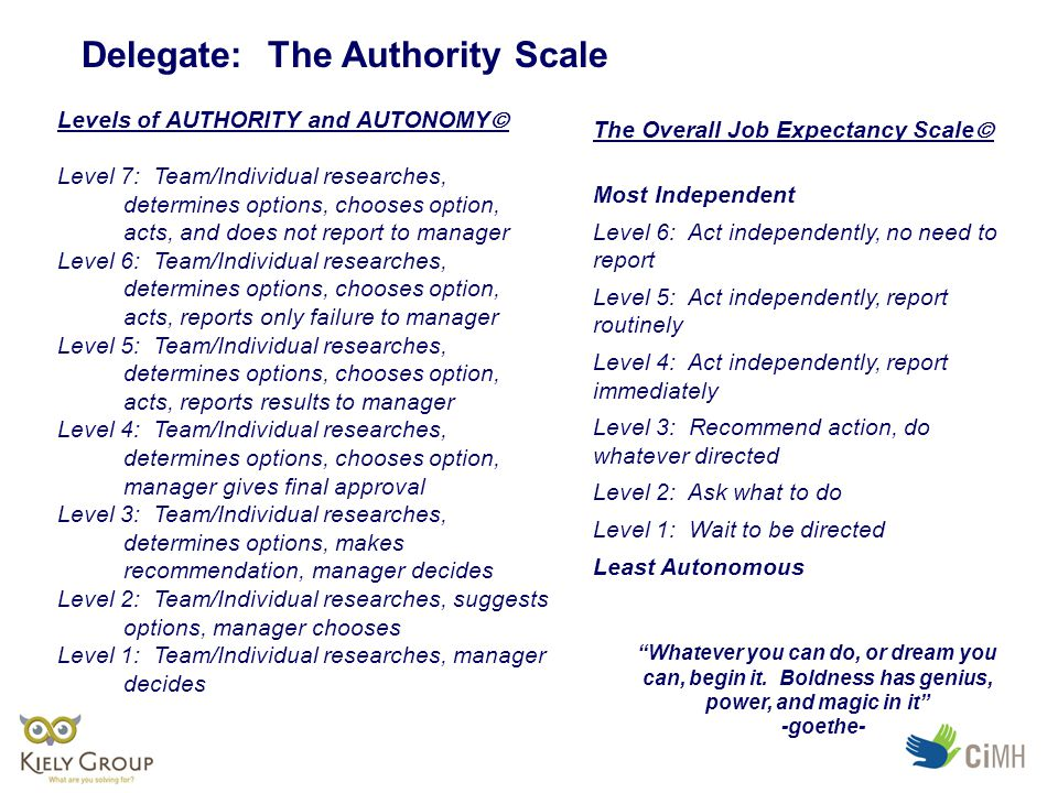 Delegate: The Authority Scale Levels of AUTHORITY and AUTONOMY  Level 7: Team/Individual researches, determines options, chooses option, acts, and does not report to manager Level 6: Team/Individual researches, determines options, chooses option, acts, reports only failure to manager Level 5: Team/Individual researches, determines options, chooses option, acts, reports results to manager Level 4: Team/Individual researches, determines options, chooses option, manager gives final approval Level 3: Team/Individual researches, determines options, makes recommendation, manager decides Level 2: Team/Individual researches, suggests options, manager chooses Level 1: Team/Individual researches, manager decides The Overall Job Expectancy Scale  Most Independent Level 6: Act independently, no need to report Level 5: Act independently, report routinely Level 4: Act independently, report immediately Level 3: Recommend action, do whatever directed Level 2: Ask what to do Level 1: Wait to be directed Least Autonomous Whatever you can do, or dream you can, begin it.