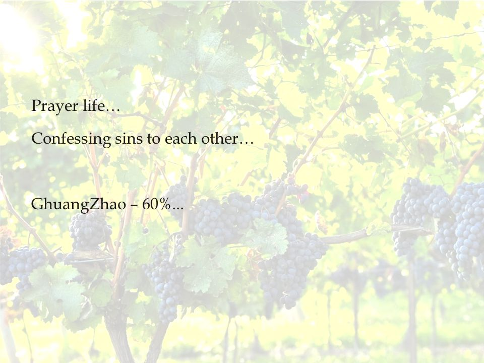 Prayer life… Confessing sins to each other… GhuangZhao – 60%...