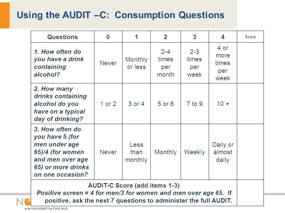 Using the AUDIT –C: Consumption Questions Questions01234 Score 1.