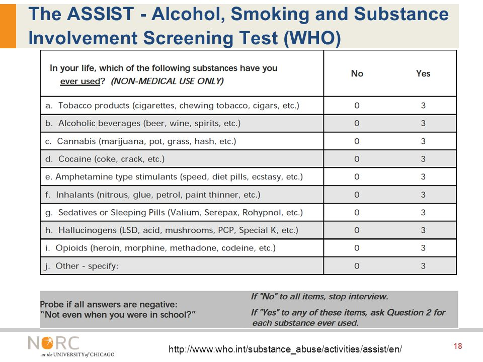 18 The ASSIST - Alcohol, Smoking and Substance Involvement Screening Test (WHO) http://www.who.int/substance_abuse/activities/assist/en/